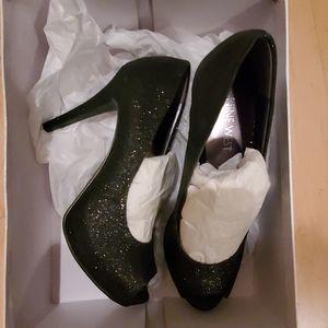 Black sparkly platform heels by Nine West